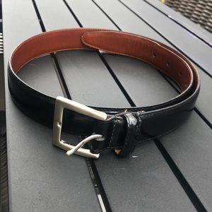 "COACH 30"" Leather Black Unisex Belt"